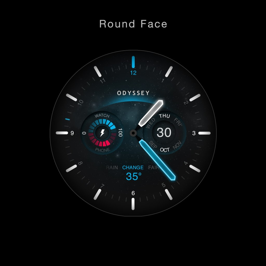 Android Wear Odyssey watch face round